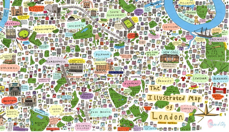 Map South East London.Illustrated Map Of South East London