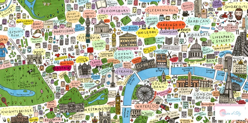 Centre London Map.Illustrated Map Of Central London