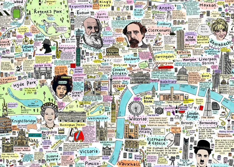 Map Of Central London To Print.Illustrated Map Of Culture And History Central London