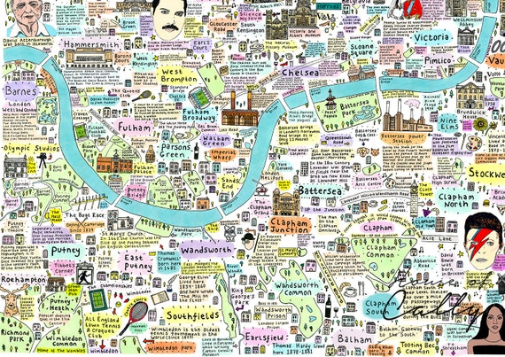 South West London Map.Illustrated Map Of South West London History And Culture