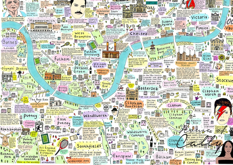 Map Of South West London.Illustrated Map Of South West London History And Culture