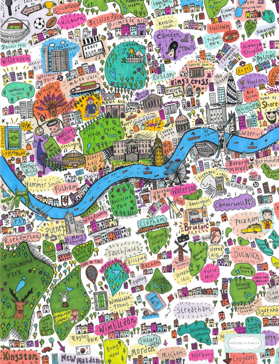 South West London Map.A4 Illustrated Map Of West And South West London