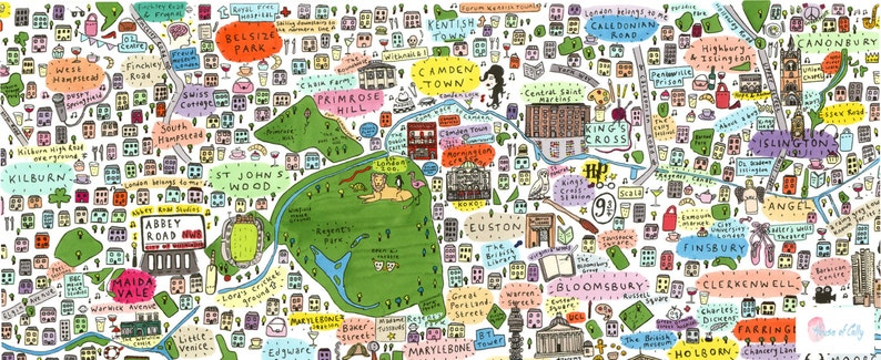 Map North London.Illustrated Map Of North London