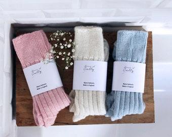 Luxury Alpaca Wool bed socks | British made | warm & soft | 90% Alpaca wool | Gift