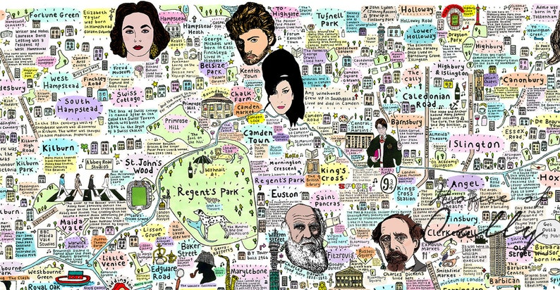 Map Of North London.Illustrated Map Of North London History And Culture