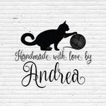 Personalized Business Stamp for Packaging Labels - Cat with Wool - Knitting or Crochet BIZR005