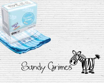 Personalized Fabric Stamp with Adorable Zebra Cartoon, Garment Stamp, Clothing Marker, Textile Stamp