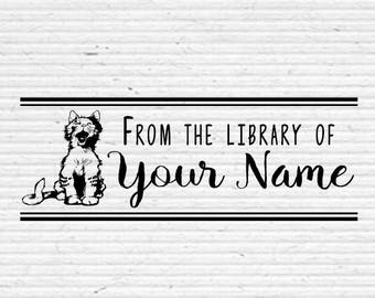 Personalized Book Stamp, Cute Cat Yawning, Hand-Drawn Cat, Library Stamp