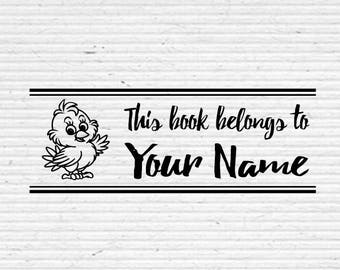 Personalized Little Chick Waving Book Stamp