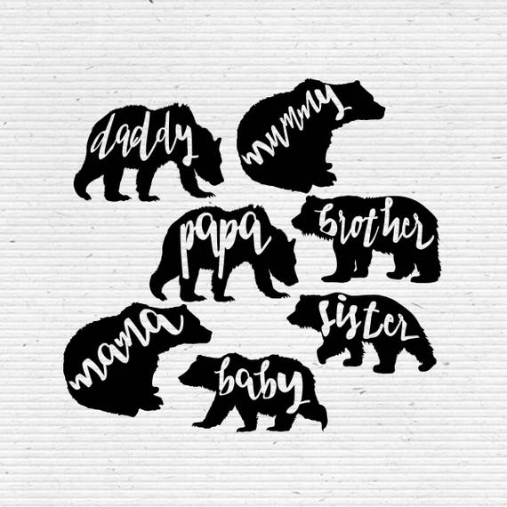 bear family silhouette printable clipart for scrapbooking and etsy