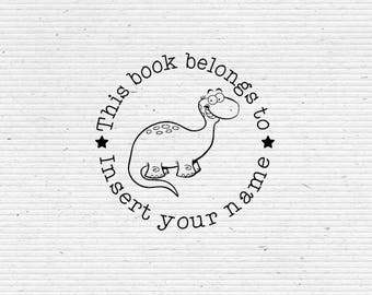 Personalized Apatosaurus Book Stamp, Dinosaur Library Stamp