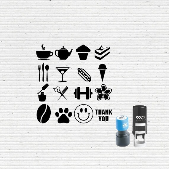 Self Inking Round Loyalty Card Mini Stamp With Icons And Logos