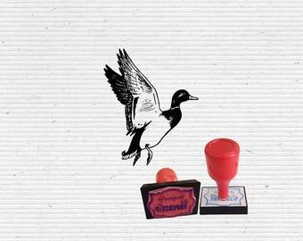 Flying Mallard Duck Craft Stamp for Scrapbooking, Cardmaking, Vintage Stamps.