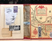 Recycled Book Cover Art Mexico Travel Abstract Handmade Analog Collage
