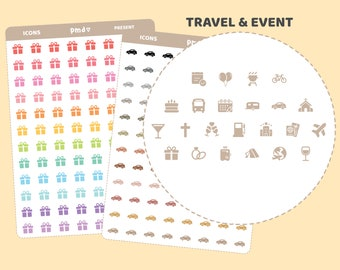 Travel & Event Icon Stickers | 23 Icons | IC06
