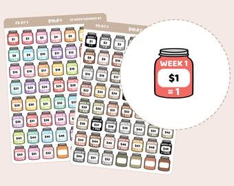 52 Week Savings Challenge Stickers | Planner Stickers | FS07
