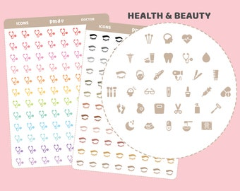 Health & Beauty Icon Stickers | 33 Icons | IC02