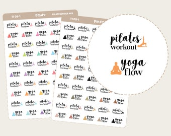 Pilates Workout & Yoga Flow Text/Icon Stickers   Planner Stickers   TI05