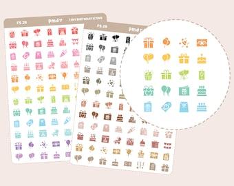 Tiny Birthday Icon Stickers | Planner Stickers | FS29