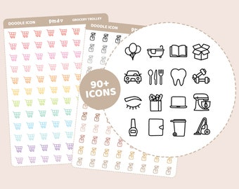 Doodle Icon Stickers | 90+ Icons | Planner Stickers | DI00