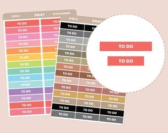 To Do Header Stickers | Planner Stickers | H01