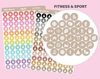 Sport & Fitness Mini Circle Stickers | 31 Icons | MC03