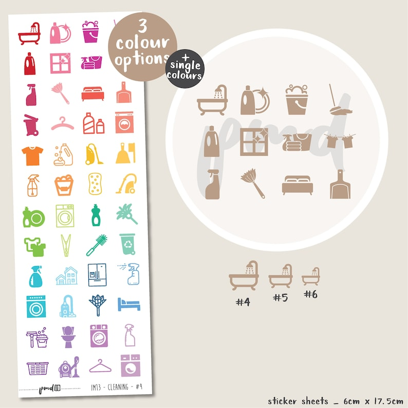 Cleaning Mix Icon Stickers  Planner Stickers  IM13 image 0