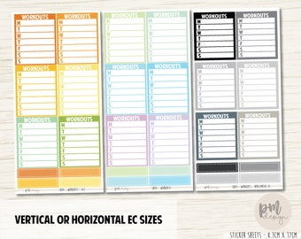 Workout Sidebar Stickers - Vertical or Horizontal EC Planners - SB04