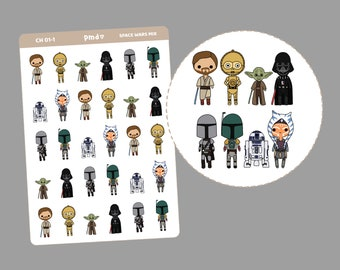 Space Wars Character Stickers | Movie & Tv Planner Stickers | CH01