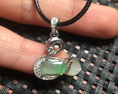 Natural green emerald inlaid with sterling silver fashion swan beautiful necklace pendant