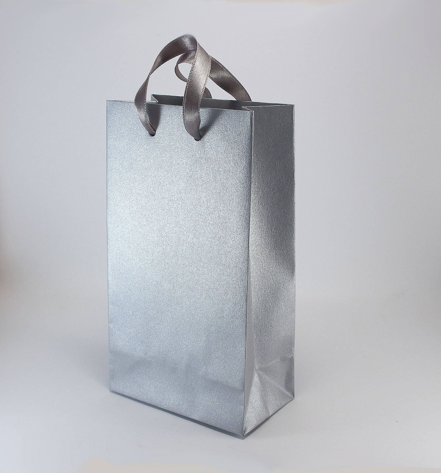 50 Wedding Favor Bags with Handles - SMALL paper bags - Silver Gift ...