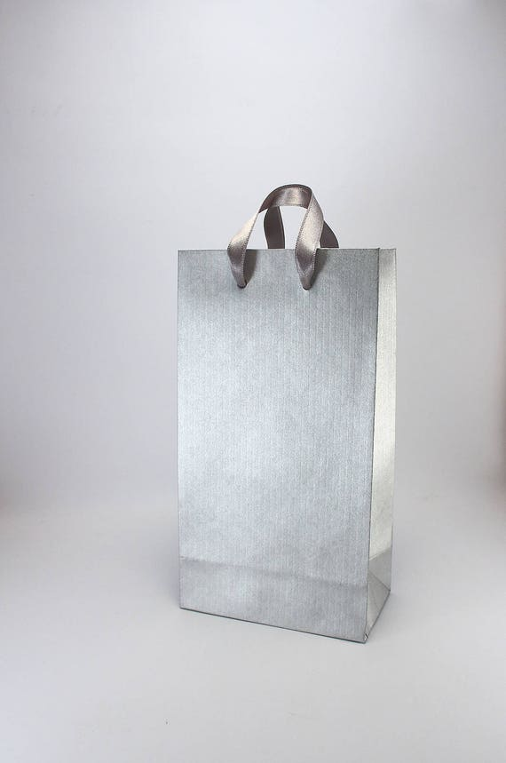 15 Small Paper Bags With Handles Silver Bridal