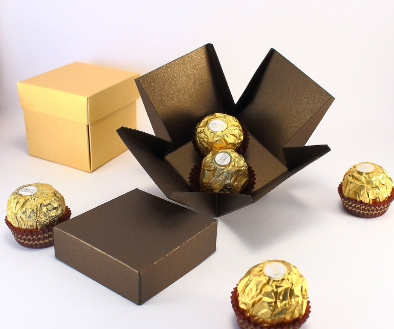 10 Gift Boxes With Lids Chocolate Brown Square Boxes For Candy Wedding Favors Small Party Gifts Bonbonniere Box