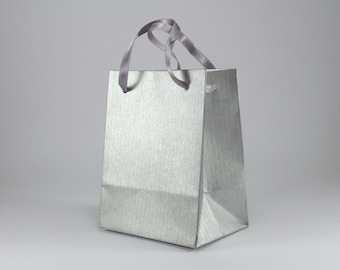 9 Paper Gift Bags with Handles - Extra Small Silver Paper Bags - Bridal Shower Favor Bags - Birthday Party Bags - Pack of 9 paper bags
