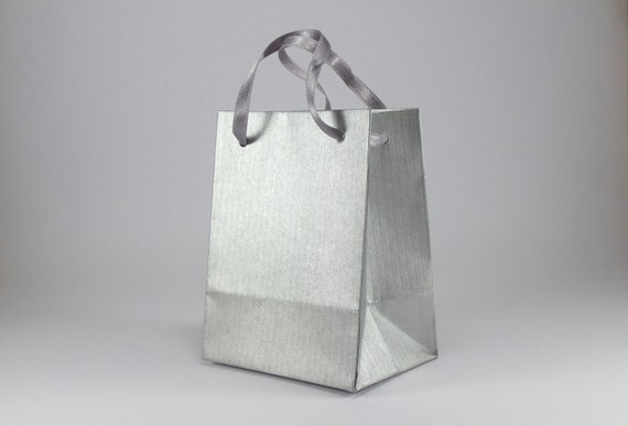 9 paper gift bags with handles extra small silver paper bags etsy