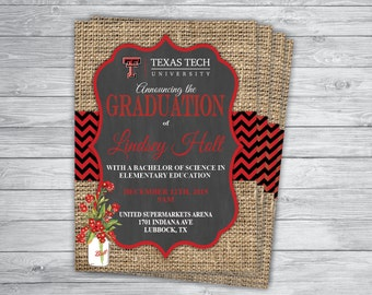 Texas tech invite etsy any eventcolor texas tech graduation announcement party invitation printed ceremony save the date birthday engagement wedding shower filmwisefo