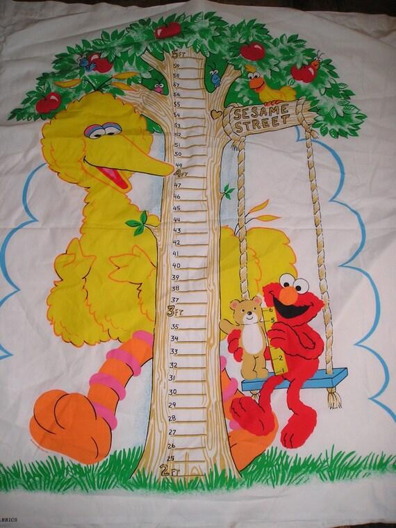 Vintage 70s Sesame Street Big Bird Elmo Growth Chart Fabric Etsy