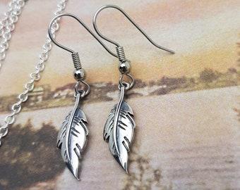 Handmade Feather Earrings, Sterling Silver - Minimalist Dangle Hook Earrings