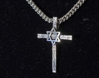 Man's Star of David Cross Pendant in Sterling Silver