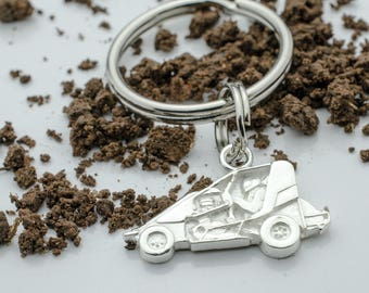 Mini / Micro Non-Wing Sprint Race Car in Sterling Silver, PENDANT or KEYCHAIN