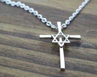 Star of David Cross Pendant in Sterling Silver