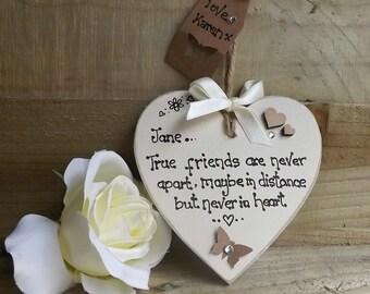 Handmade True Friends gift heart plaque keepsake