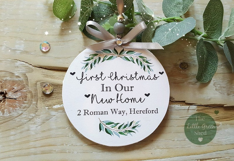 72be0be8f3646 Personalised First Christmas New Home Tree Decoration Ornament 10x10cm