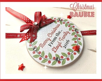 Personalised Merry Christmas Family, Teacher, Friend Bauble Plaque Sign