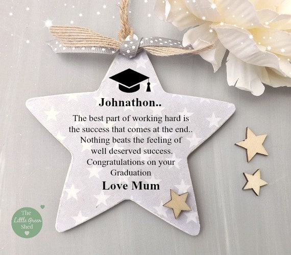 Graduation Plaque Personalised Star Success Gift Token Keepsake