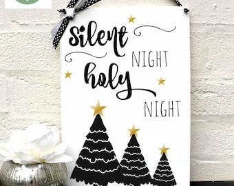 Christmas Sign Silent Night Quote Home Decor Plaque Monochrome  A4