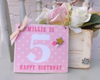 Birthday Gift Age/Name Plaque Girl, Mum, Sister, Friend Personalised