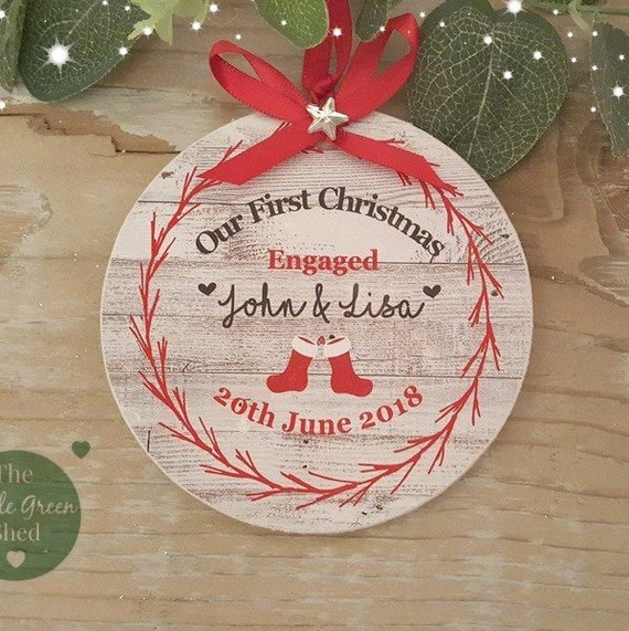 PERSONALISED WOODEN CHRISTMAS  HANGING TREE DECORATION FIRST CHRISTMAS BAUBLE