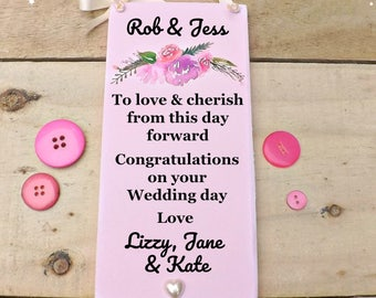 Wedding Sign To Love & Cherish Personalised Plaque Floral Keepsake