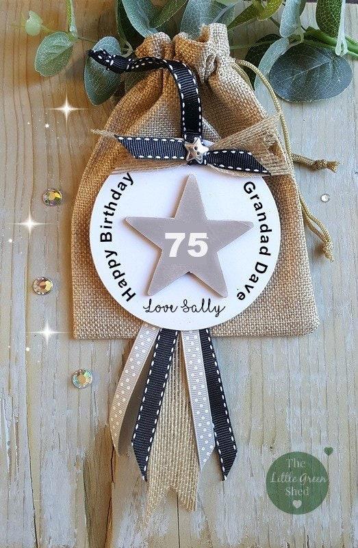 Grandad Birthday Gift Age Sign Brother/Uncle/Dad Personalised PlaqueKeepsake Hessian Gift Bag
